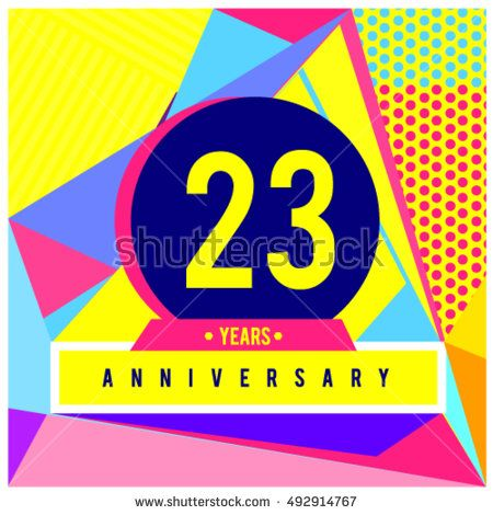 23th years greeting card anniversary with colorful number and frame. logo and icon with Memphis style cover and design template. Pop art style design poster and publication.
