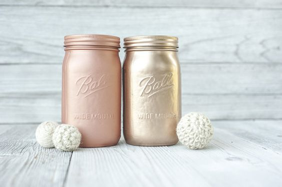 Rose gold wedding, mason jars. Ball widemouth quarts. Blush gold.