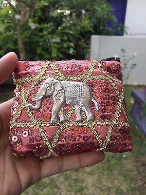 THAI ELEPHANT BAG PINK COIN PURSE WALLET HANDMADE ZIPPER SOUVENIR GIFT.