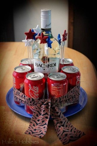 """Rum and coke gift """"cake"""" for a hostess gift or birthday. Could use more than just rum and coke to make these for gifts."""