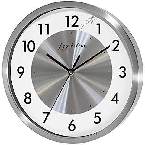 Fzy Bstim Non Ticking Silent Wall Clock Decorative Quartz Analog Wall Clock Battery Operated For Bedroom Living Room Wall Clock Steel Wall Large Kitchen Clock