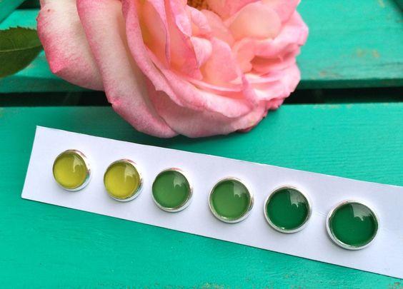Spar 3er Set Ohrstecker Grüntöne silber von Schmuckzucker - handgemachter, individueller Schmuck - Ohrringe, Ketten und mehr auf DaWanda.com