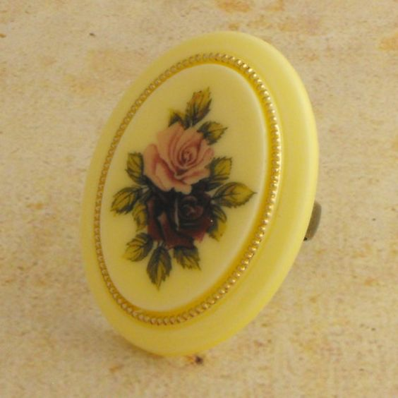 Vintage Ring Adjustable Pink Red Rose by vintagejewellerybox, £6.50