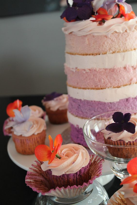 Purple Ombre Cake and Cupcakes