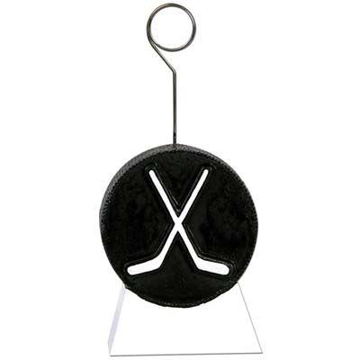 Hockey Puck w/Sticks Photo/Balloon Holder - Wholesale Party Supplies