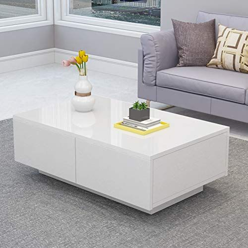 Greensen Modern Glossy White Coffee Table Cocktail End Table With