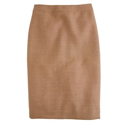 Tall No. 2 pencil skirt in double-serge wool, heather acorn, $130.00