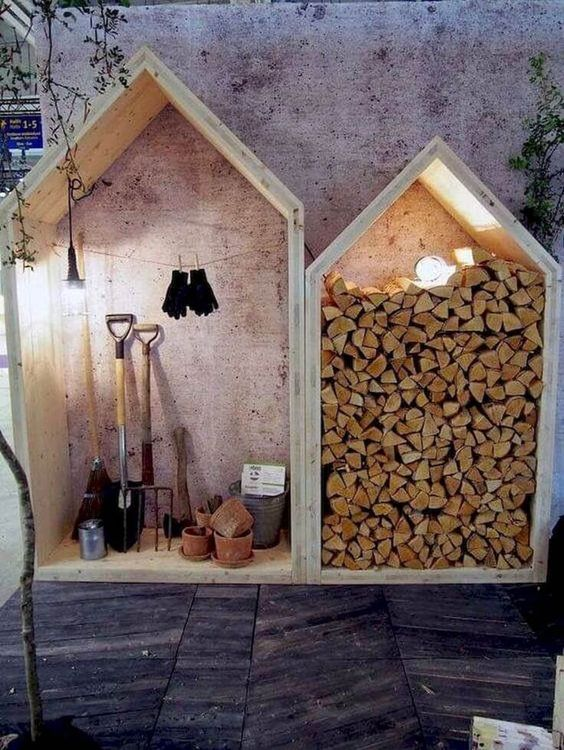 mini sheds that stand against a wall to store firewood #fireWoodStorage #firewoodrack #firewood #firewoodideas #organization #shed