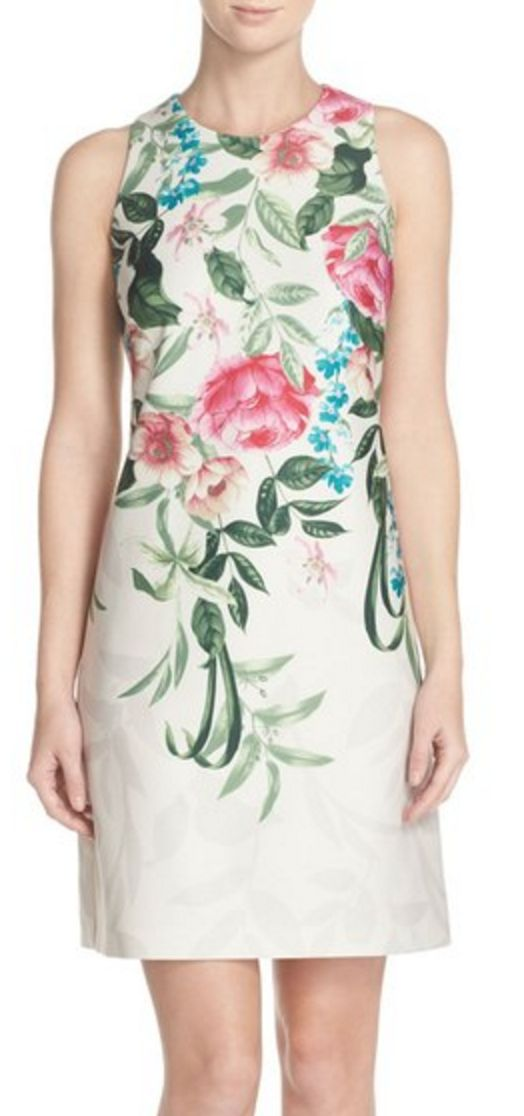 Placed Floral Print A-Line Sheath