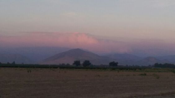 "This photo was taken on the outskirts of Sanger Calif. looking toward the Kings Canyon National Parks ""Rough Fire"".  We live approximately 20 miles West of the park & the smoke has been horrible!!"