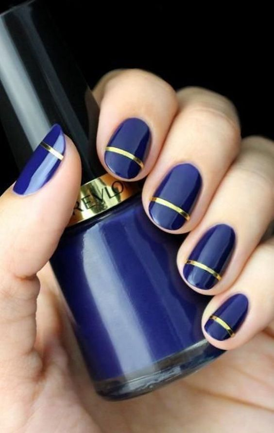 These blue and gold nails prove you can still slay with short nail designs. Click above to get more nail art ideas for short nails.