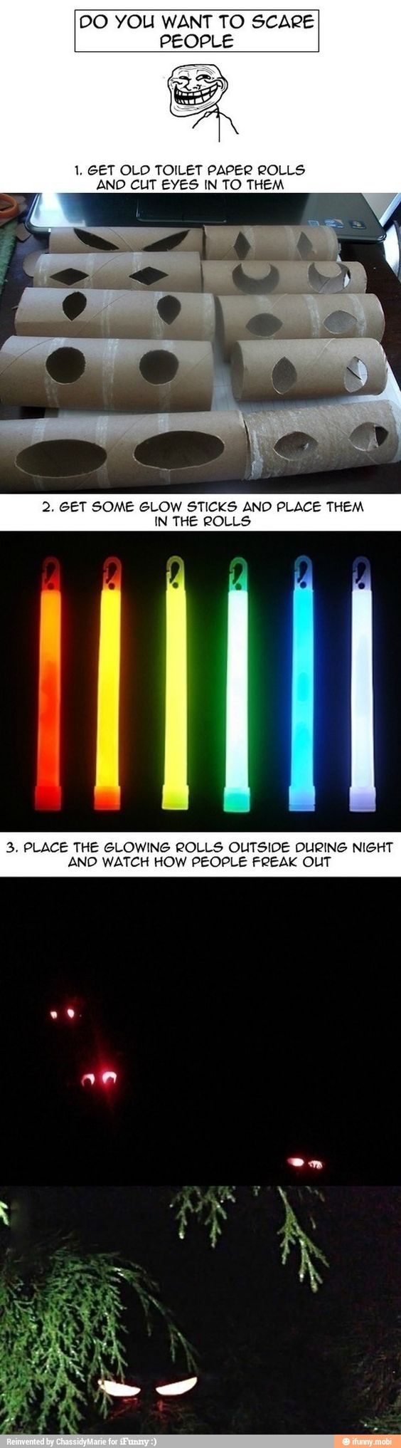 Make spooky eyes with glow sticks and toilet paper tubes for Glow sticks in toilet paper rolls