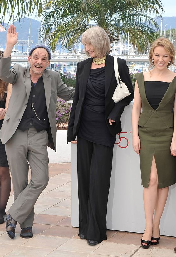 Edith Scob (age 75) elegant in all black & gold neck-band at 65th Annual Cannes Film Festival 2012, France: