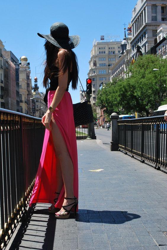 glam, long skirt