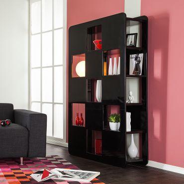 b cherregal check beidseitig nutzbar schwarz hochglanz. Black Bedroom Furniture Sets. Home Design Ideas