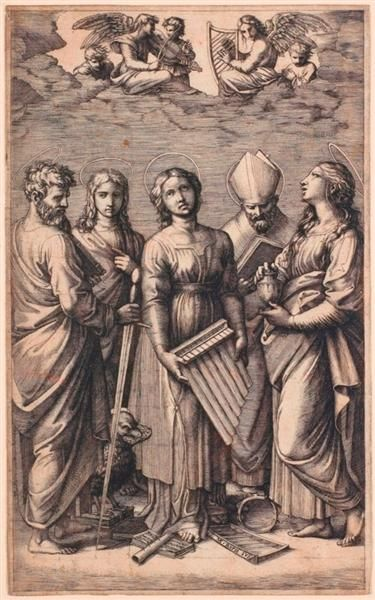 St. Cecilia with Saints c.1515-16 (Die Heilige Cäcilia mit den Heiligen Paulus, Johannes Evangelist, Augustinus und Magdalena); Marcantonio Raimondi etching after painting by Raphael;  Dresden, Germany