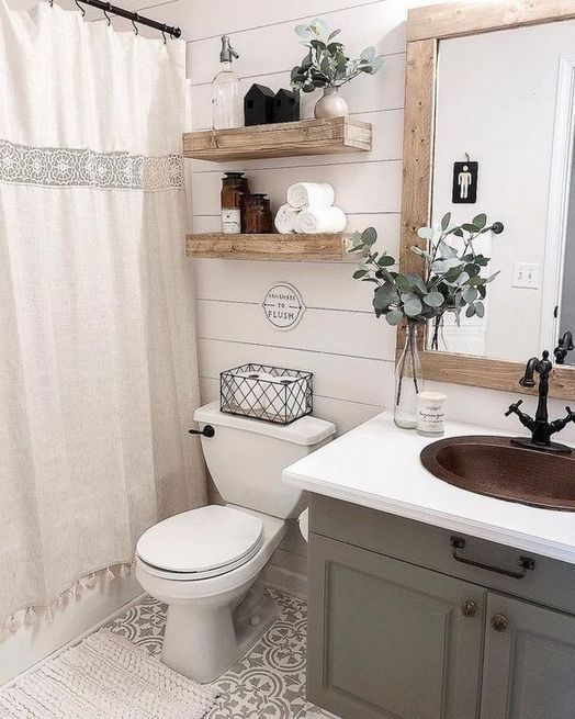 99 Sweetest Rustic Farmhouse Bathroom Decorating Ideas On Small Space On Budget In 2020 Small Bathroom Decor Farmhouse Bathroom Decor Bathroom Design