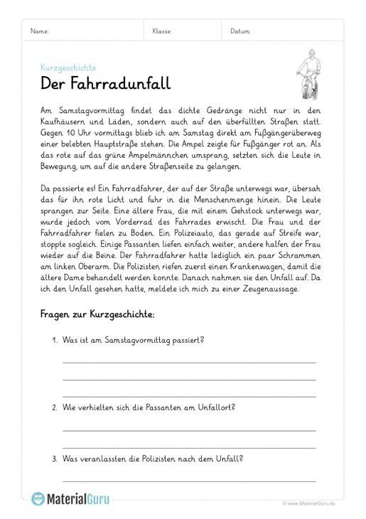 Kostenlose Arbeitsblatter Und Ubungen Zu Kurzgeschichten Fur Den Deutsch Unterricht Zum Herunterlade Deutsch Lernen Kinder Kurzgeschichten Lesen Arbeitsblatter