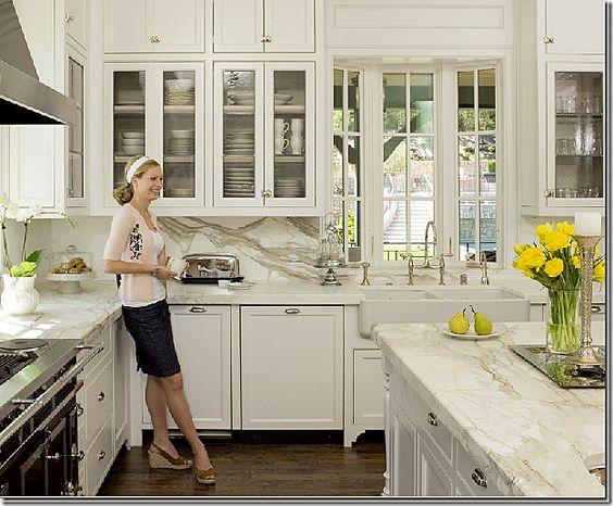 Classic kitchen.  Marble + walnut