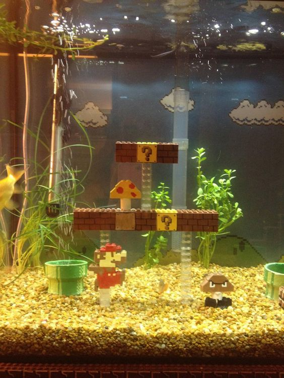 Awesome Super Mario Bros. LEGO fish tank!  This almost makes me want to get fish!