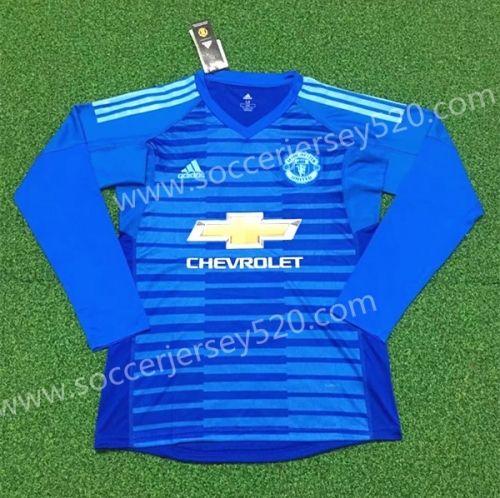 2018 19 Manchester United Goalkeeper Blue Thailand Ls Soccer Jersey Aaa Soccer Jersey Jersey Soccer