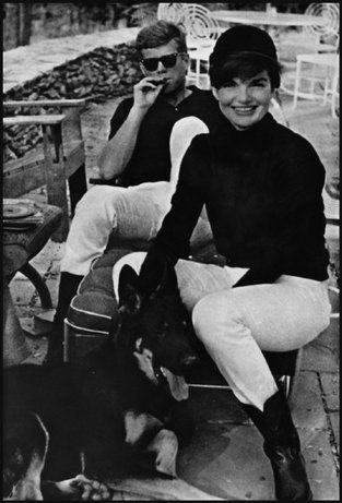 John F. Kennedy and Jacqueline Kennedy relaxing at Glen Ora, Middleburg, Virginia, 1963.: