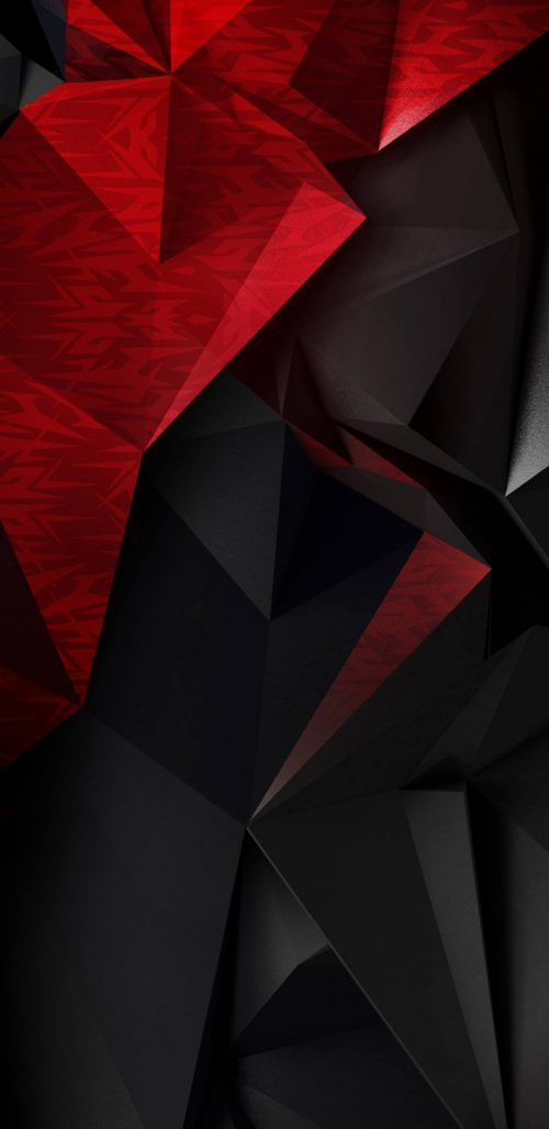 Abstract 3d Red And Black Polygons For Samsung Galaxy S9