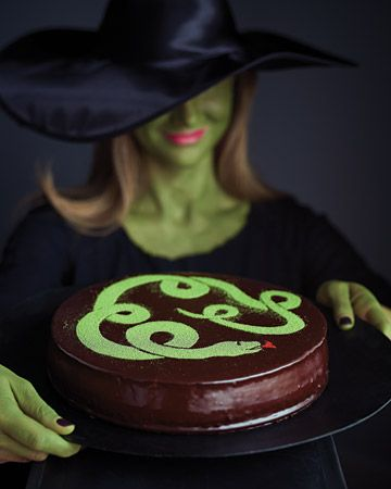 Snake Cake with Venom Glaze.  Chocolate Cheesecake!! Recipe and tutorial from Martha Stewart