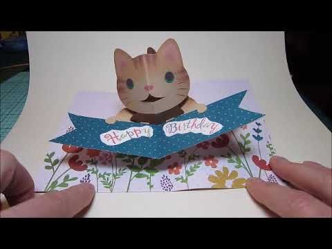 Cat Pop Up Card Made From Purchased File Happy Birthday Pop Up Card With Brown Cat And Flowers Free File For Cat Happy Birthday Cat Cat Cards Pop Up Cards