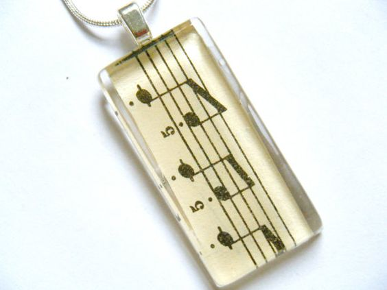 OOAK Vintage Music Glass Tile Pendant Musical Sheet Notes Song Rectangle Recycled Material Necklace Musician Upcycled Paper Lyrics Jewelry