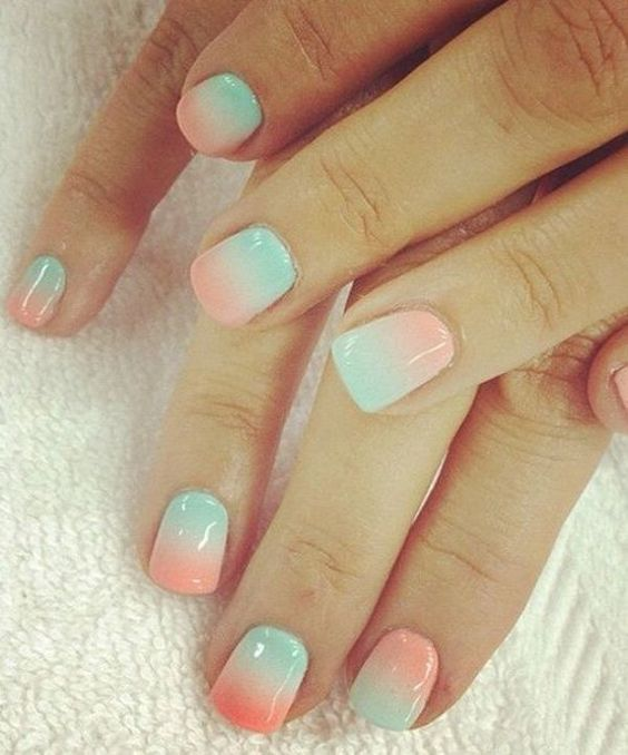 Play around with these warm summer gradients. Coat your nails with light sea green and salmon polish to celebrate the warm sun and friendly atmosphere of the summer. Make your nails look great while going to the beach or dipping in the pool with your friends and family.