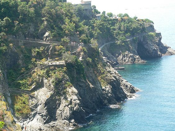 Hiking path along the coast in the Cinque Terra, Italy.