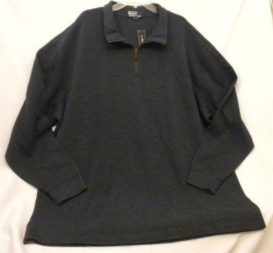 NWT Men's 4XL Tall Half-Zip Mock Neck Pullover Sweatshirt Sweater Grey Blue #PoloRalphLauren #12Zip