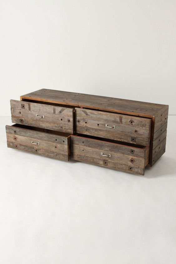 Pallets drawers and pallet chest on pinterest for How to make a pallet bed with drawers