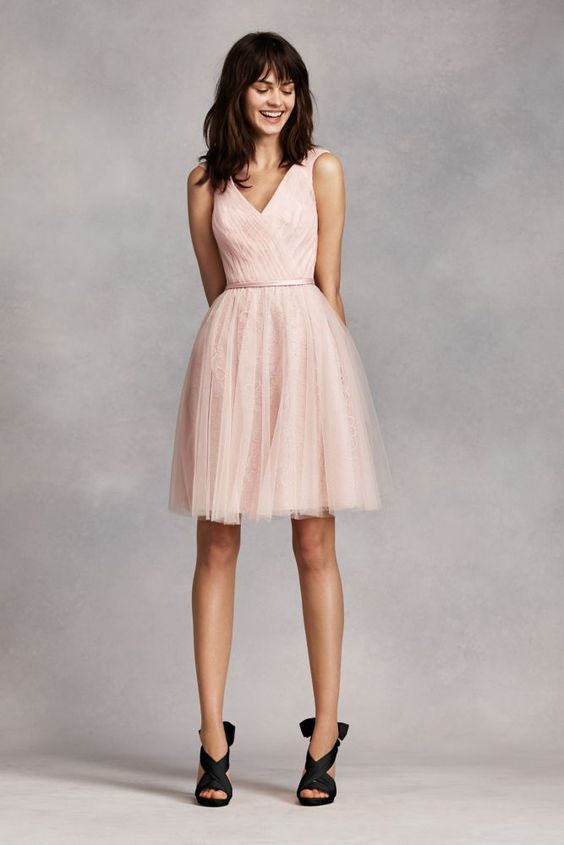 Short Novelty Sleeveless Tulle over Lace Bridesmaid Dress: