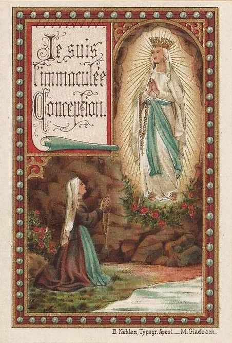 "Vintage holy card.  Text translates, ""I am the Immaculate Conception."""