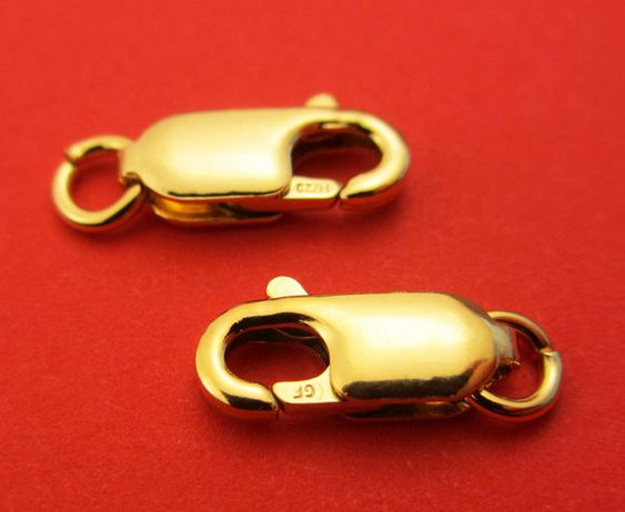 New 12mm x 4.5mm 14k Gold Filled Lobster Clasp with open jump ring 3pcs. by Electricsilver on Etsy