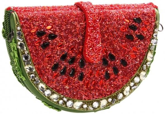 Mary Frances Unusual Purse - WATERMELON -- all hand-made: