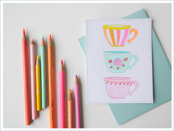 D.I.Y. Tea Painted Card with FreePrintable - Home - Creature Comforts - daily inspiration, style, diy projects + freebies