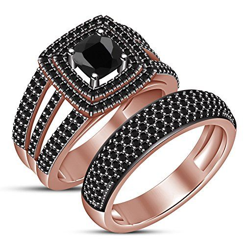 TVS-JEWELS Five Stone Round Cut Black Cubic Zirconia Black Rhodium Plated 925 Silver Mens Band Ring