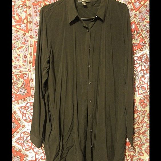 Extra long button up shirt (or dress) Black extra long button up shirt (knee length) that can be worn as a dress. Never worn. Forever 21 Tops Blouses