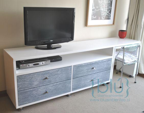 Mueble TV 4 cajones y mesa con ruedas
