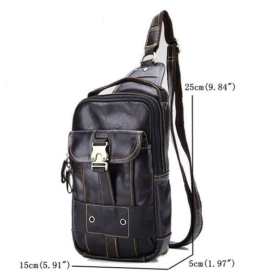 Ekphero Genuine Leather Chest Bag First Layer Leather Casual Vintage Crossbody Bag For Men