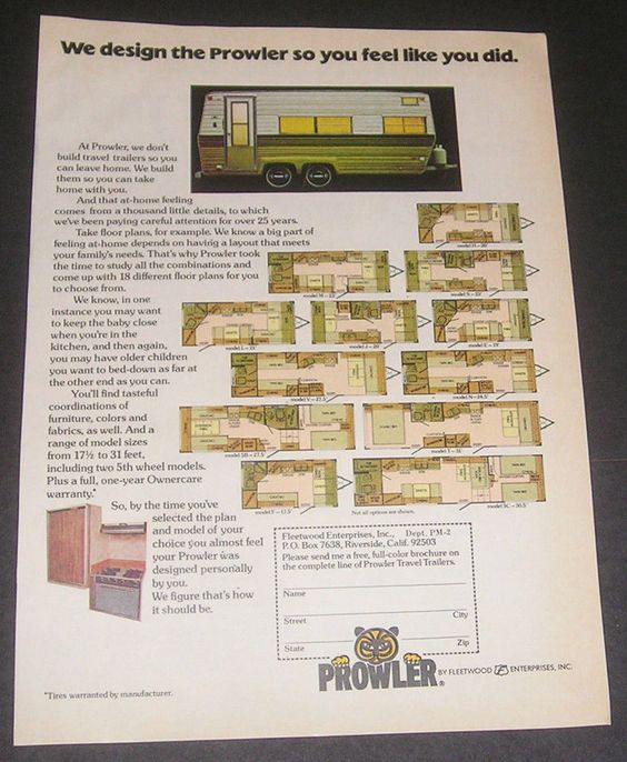 1976 prowler travel trailer floor plans fleetwood