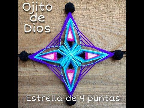 Ojito De Dios Estrella De 4 Puntas Youtube Ojo De Dioses Mandalas De Lana Ojos De Dios Huichol