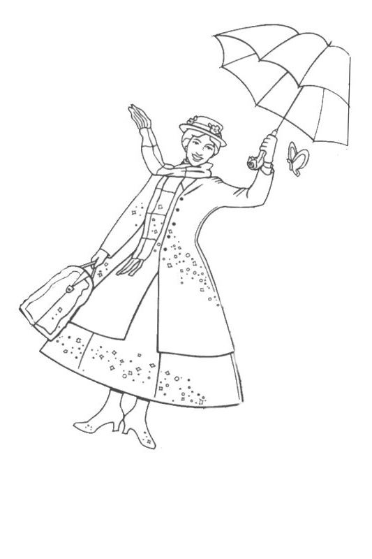 Coloriage Mary Poppins Sketches Drawings Free Printable