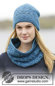 """Set consists of: Crochet DROPS hat and neck warmer with double crochet and lace pattern in """"Air"""". ~ DROPS Design"""