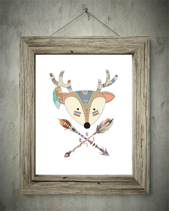 Tribal animal head 8x10 digital wall art dear arrow woodland animals feathers rustic direction by picksngiggles on Etsy
