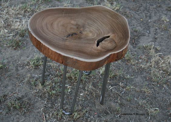 Vintage Industrial End Table/ Side Table. Teak Slab. by leecowen, $150.00