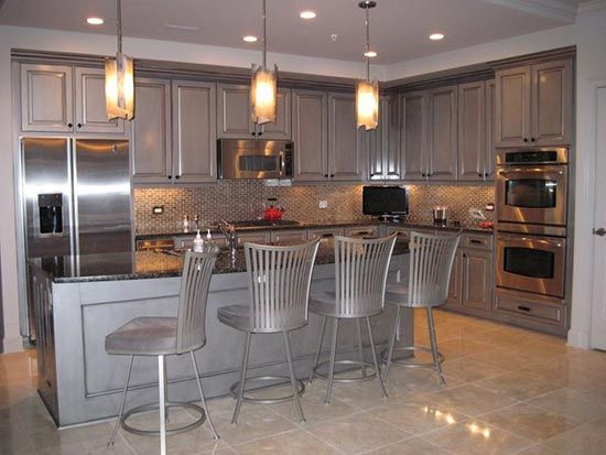 Modern Masters Silver Metallic Paint On Kitchen Cabinets With An